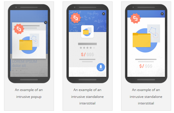 """3 different examples of """"intrusive"""" interstitial: an intrusive popup, and two examples of a standalone interstitial"""