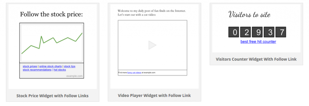 3 different examples of widget link that violate Google's link scheme guidelines and can trigger a manual action - penalty